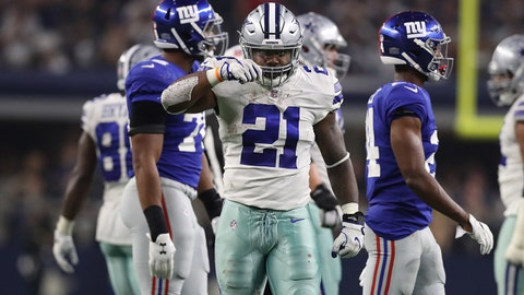 Sep 10, 2017; Arlington, TX, USA; Dallas Cowboys running back Ezekiel Elliott (21) motions to keep feeding him after a first down in the fourth quarter against the New York Giants at AT&T Stadium. Mandatory Credit: Matthew Emmons-USA TODAY Sports