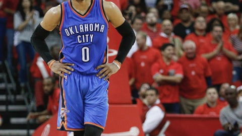 HOUSTON, TX - APRIL 25:  Russell Westbrook #0 of the Oklahoma City Thunder during Game Five of the Western Conference Quarterfinals game of the 2017 NBA Playoffs at Toyota Center on April 25, 2017 in Houston, Texas. NOTE TO USER: User expressly acknowledges and agrees that, by downloading and/or using this photograph, user is consenting to the terms and conditions of the Getty Images License Agreement.  (Photo by Bob Levey/Getty Images)