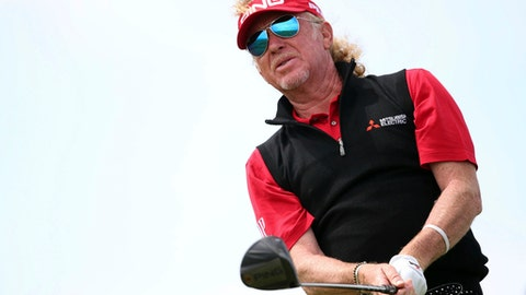 Spain's Miguel Angel Jimenez on the 6th tee during day three of the Senior Open at Royal Porthcawl Golf Club, Wales, Saturday July 29, 2017. (Nick Potts(/PA via AP)
