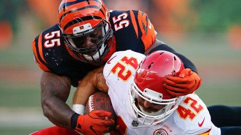 Cincinnati Bengals outside linebacker Vontaze Burfict (55) tackles Kansas City Chiefs fullback Anthony Sherman (42) during the first half of an NFL preseason football game, Saturday, Aug. 19, 2017, in Cincinnati. (AP Photo/Gary Landers)