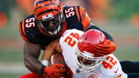 Cincinnati Bengals outside linebacker Vontaze Burfict (55) tackles Kansas City Chiefs fullback Anthony Sherman (42) during the first half of an NFL preseason football game, Saturday, Aug. 19, 2017, in Cincinnati. (AP Photo/Gary Landers)