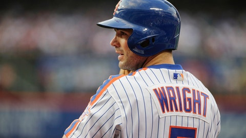 FILE - In this May 27, 2016, file photo, New York Mets'  David Wright stands on the field during the first inning of a baseball game against the Los Angeles Dodgers, in New York. Wright has started a rehab assignment with Class A St. Lucie. Wright was the designated hitter and batted third Tuesday night, Aug. 22, 2017, at Charlotte, a Tampa Bay Rays affiliate in the Florida State League. Trying to come back from neck surgery last year, the third baseman hasn't played in a major league game since May 2016. (AP Photo/Frank Franklin II, File)