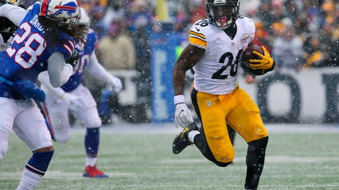"FILE - In this Dec. 11, 2016, file photo, Pittsburgh Steelers running back Le'Veon Bell (26) carries against the Buffalo Bills during the second half of an NFL football game in Orchard Park, N.Y. Bell has suggested on Twitter that he will return to the team on Sept. 1, the day after Pittsburgh's final preseason game. Bell hasn't signed his franchise tender and has been holding out through training camp. Responding to a fan Tuesday night, Aug. 22, asking when he plans to end his holdout, Bell wrote ""9-1-17"" and added a wink. (AP Photo/Bill Wippert, File)"
