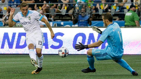 Seattle Sounders forward Jordan Morris, left, has a close-range shot blocked by Portland Timbers goalkeeper Jeff Attinella, right, in the second half of an MLS soccer match, Sunday, Aug. 27, 2017, in Seattle. The match ended in a 1-1 tie. (AP Photo/Ted S. Warren)