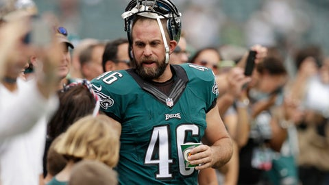 "FILE - In this Sept. 11, 2016, file photo, Philadelphia Eagles' Jon Dorenbos greets fans before the team's NFL football game against the Cleveland Browns in Philadelphia. A day after long snapper and celebrity magician Dorenbos was traded to the New Orleans Saints, players were still reeling from losing their popular teammate. ""His positive attitude is something that's hard to find in a football locker room all year round,"" safety Malcolm Jenkins said Tuesday, Aug. 29, 2017. ""Jon's the guy who is constantly in a good mood, constantly joking around. He's just a good friend and obviously a guy who is going to be missed."" (AP Photo/Michael Perez, File)"