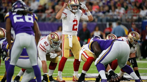FILE - In this Aug. 27, 2017, file photo, San Francisco 49ers quarterback Brian Hoyer (2) calls a play during an NFL preseason football game against the Minnesota Vikings in Minneapolis. The 49ers hired a top offensive coordinator to run the show when they hired Kyle Shanahan. He reunited with Hoyer, who played in Cleveland when Shanahan was offensive coordinator. (AP Photo/Bruce Kluckhohn, File)