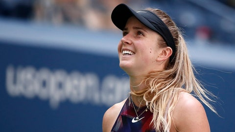 Elina Svitolina, of Ukraine, reacts after scoring a point against Evgeniya Rodina, of Russia, during the second round of the U.S. Open tennis tournament, Thursday, Aug. 31, 2017, in New York. (AP Photo/Andres Kudacki)
