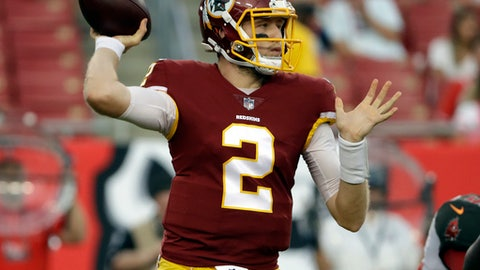 Washington Redskins quarterback Nate Sudfeld throws a pass against the Tampa Bay Buccaneers during the first quarter of an NFL preseason football game Thursday, Aug. 31, 2017, in Tampa, Fla. (AP Photo/Chris O'Meara)
