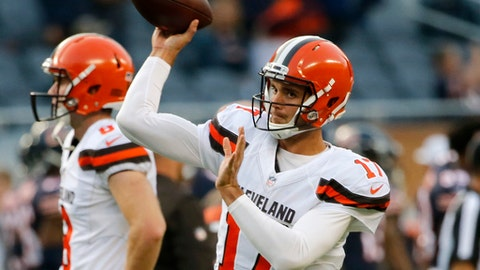 Cleveland Browns quarterback Brock Osweiler (17) warms up before an NFL football game Chicago Bears, Thursday, Aug. 31, 2017, in Chicago. (AP Photo/Charles Rex Arbogast)
