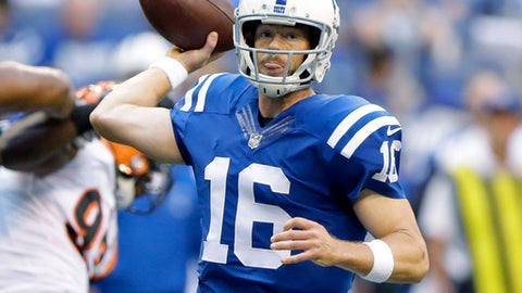 Indianapolis Colts quarterback Scott Tolzien throws during the first half of an NFL preseason football game against the Cincinnati Bengals in Indianapolis, Thursday, Aug. 31, 2017. (AP Photo/Michael Conroy)