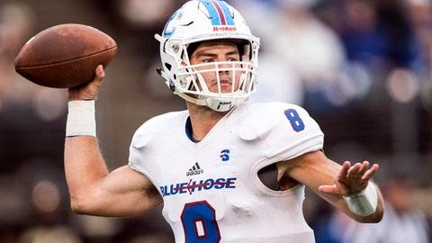 Presbyterian quarterback Ben Cheek (8) passes against Wake Forest during an NCAA college football game Thursday, Aug. 31, 2017, in Winston-Salem, N.C. (Andrew Dye/The Winston-Salem Journal via AP)