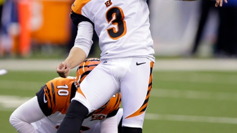 Cincinnati Bengals' Jake Elliott watches his 50-yard field goal during the first half of a preseason NFL football game against the Indianapolis Colts in Indianapolis, Thursday, Aug. 31, 2017. (AP Photo/Michael Conroy)