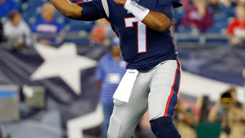 New England Patriots quarterback Jacoby Brissett passes against the New York Giants during the first half of an NFL preseason football game, Thursday, Aug. 31, 2017, in Foxborough, Mass. (AP Photo/Winslow Townson)