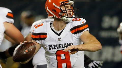 Cleveland Browns quarterback Kevin Hogan (8) throws during the second half of an NFL preseason football game against the Chicago Bears, Thursday, Aug. 31, 2017, in Chicago. (AP Photo/Charles Rex Arbogast)