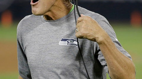 Seattle Seahawks head coach Pete Carroll yells during the second half of an NFL preseason football game between the Oakland Raiders and the Seahawks in Oakland, Calif., Thursday, Aug. 31, 2017. (AP Photo/Eric Risberg)
