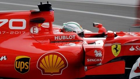 Ferrari driver Sebastian Vettel of Germany starts his first free practice for Sunday's Italian Formula One Grand Prix, at the Monza racetrack, Italy, Friday, Sept.1, 2017. (AP Photo/Luca Bruno)