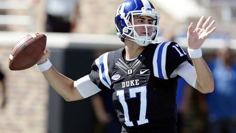 FILE - In this Oct. 1, 2016, file photo, Duke quarterback Daniel Jones (17) passes against Virginia during the first half of an NCAA college football game in Durham, N.C. The Blue Devils look to put a rough 2016 in the past when they begin a new season Saturday night against North Carolina Central. (AP Photo/Gerry Broome, File)