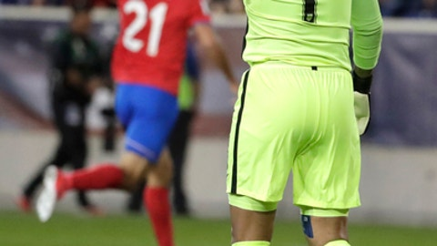 U.S. goalkeeper Tim Howard, right, gets up after allowing a goal to Costa Rica forward Marco Urena during the first half of a World Cup qualifying soccer match, Friday, Sept. 1, 2017, in Harrison, N.J. (AP Photo/Julio Cortez)