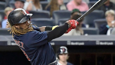 Boston Red Sox batter Hanley Ramirez hits a home run during the seventh inning of a baseball game against the New York Yankees, Friday, Sept.1, 2017, at Yankee Stadium in New York. (AP Photo/Bill Kostroun)