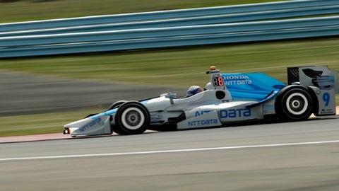 Scott Dixon drives through Turn 1 during a practice session for Sunday's IndyCar Series auto race, Saturday, Sept. 2, 2017, in Watkins Glen, N.Y. (AP Photo/Matt Slocum)