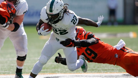 Portland State's Za'Quan Summers (22) sheds the tackle attempt by Oregon State's Andrzej Hughes-Murray (49) in the first half of an NCAA college football game, in Corvallis, Ore., Saturday, Sept. 2, 2017. (AP Photo/Timothy J. Gonzalez)