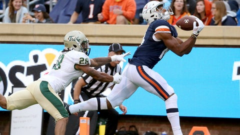 Virginia's Andre Levrone, right, pulls in a touchdown pass against William and Mary's Raeshawn Smith, left, in the second quarter  of an NCAA college football game  in Charlottesville on Saturday, Sept.  2, 2017. (Daniel Sangjib Min/Richmond Times-Dispatch via AP)