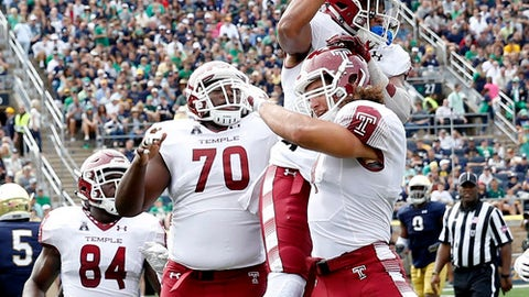 Temple wide receiver Keith Kirkwood celebrates his touchdown with teammates during the first half of an NCAA college football game against Notre Dame Saturday, Sept. 2, 2017, in South Bend, Ind. (AP Photo/Charles Rex Arbogast)