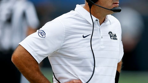 Pittsburgh head coach Pat Narduzzi watches as his team plays against Youngstown State in the second half of an NCAA football game, Saturday, Sept. 2, 2017, in Pittsburgh. Pittsburgh won 28-21 in overtime. (AP Photo/Keith Srakocic)