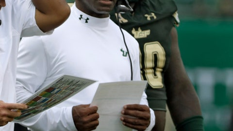New South Florida head coach Charlie Strong watches play against Stony Brook during the third quarter of an NCAA college football game Saturday, Sept. 2, 2017, in Tampa, Fla. (AP Photo/Chris O'Meara)