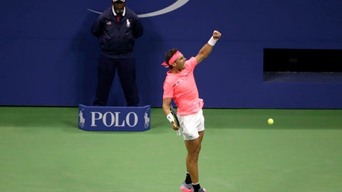 Rafael Nadal, of Spain, celebrates after defeating Leonardo Mayer, of Argentina, during the U.S. Open tennis tournament in New York, Saturday, Sept. 2, 2017. (AP Photo/Seth Wenig)