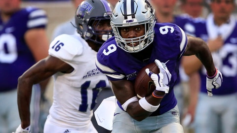 Kansas State wide receiver Byron Pringle (9) gets away from Central Arkansas defensive back Trai Mosley (16) while taking an Ertz pass 55 yards for a touchdown during the first half of an NCAA college football game in Manhattan, Kan., Saturday, Sept. 2, 2017. (AP Photo/Orlin Wagner)