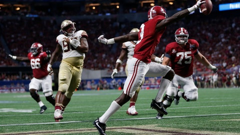 Alabama wide receiver Calvin Ridley (3) scores on a two-point conversion against Florida State during the second half of an NCAA football game, Saturday, Sept. 2, 2017, in Atlanta. (AP Photo/John Bazemore)