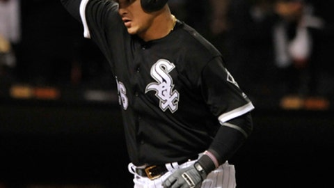 Chicago White Sox's Avisail Garcia celebrates at home plate after hitting a two-run home run during the seventh inning of a baseball game against the Tampa Bay Rays, Saturday, Sept. 2, 2017, in Chicago. (AP Photo/Paul Beaty)