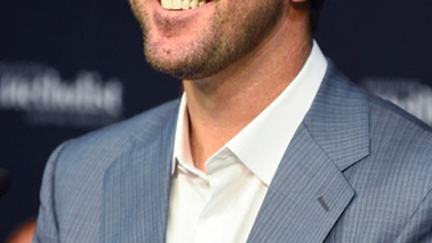 Houston Astros pitcher Justin Verlander smiles during a press conference introducing Verlander before a baseball game against the New York Mets, Sunday, Sept. 3, 2017, in Houston. Verlander was traded to Houston from the Detroit Tigers on Thursday. (AP Photo/Eric Christian Smith)