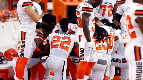 FILE - This Aug. 21, 2017 file photo shows members of the Cleveland Browns kneeling during the national anthem before an NFL preseason football game between the New York Giants and the Cleveland Browns in Cleveland. Unions representing Cleveland police and paramedics say they won't hold a large American flag before the Cleveland Browns' season opener because of previous player protests during the national anthem. The president of the Cleveland Association of Rescue Employees Local 1975 said Saturday, Sept. 2, 2017 the protest has upset union members. (AP Photo/Ron Schwane, file)