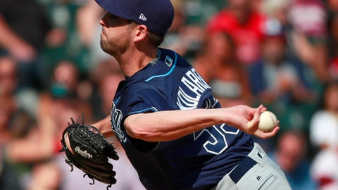 Tampa Bay Rays relief pitcher Adam Kolarek delivers during the seventh inning of a baseball game against the Chicago White Sox in Chicago, Sunday, Sept. 3, 2017. (AP Photo/Jeff Haynes)