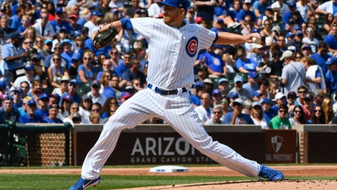 CORRECTS TO STARTER NOT RELIEVER - Chicago Cubs starter Mike Montgomery delivers during the first inning of a baseball game against the Atlanta Braves on Sunday, Sept. 3, 2017, in Chicago. (AP Photo/Matt Marton)