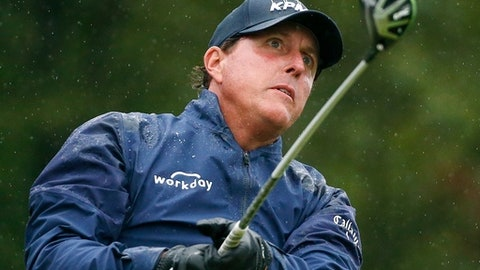 Phil Mickelson tees off on the 17th hole during the third round of the Dell Technologies Championship golf tournament at TPC Boston in Norton, Mass., Sunday, Sept. 3, 2017. (AP Photo/Michael Dwyer)