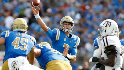 UCLA quarterback Josh Rosen passes the ball against Texas A&M during the first quarter of an NCAA college football game, Sunday, Sept. 3, 2017, in Pasadena, Calif. (AP Photo/Danny Moloshok)