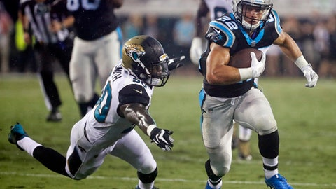 FILE - In this Aug. 24, 2017, file photo, Carolina Panthers running back Christian McCaffrey (22) runs past Jacksonville Jaguars linebacker Telvin Smith, left, during the first half of an NFL preseason football game in Jacksonville, Fla. McCaffrey has been impressive during training camp and the preseason lining up in a number of positions including running back, the slot and even quarterback. (AP Photo/Stephen B. Morton, File)
