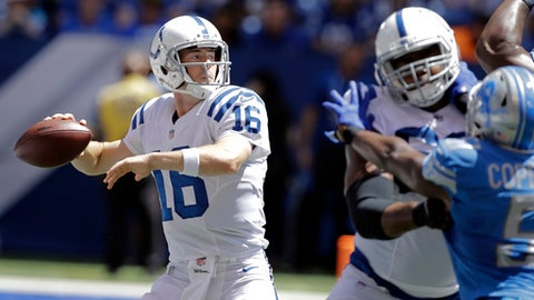FILE - In this Aug. 13, 2017, file photo, Indianapolis Colts quarterback Scott Tolzien passes against the Detroit Lions during the first half of an NFL preseason football game in Indianapolis. If Andrew Luck can't play, Tolzien would probably start. He is 0-2-1 in three career starts. (AP Photo/Darron Cummings, File)