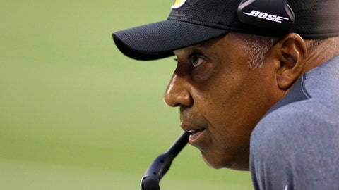 FILE - In this Thursday, Aug. 31, 2017, file photo, Cincinnati Bengals head coach Marvin Lewis watches from the sidelines in the first half of a preseason NFL football game against the Indianapolis Colts in Indianapolis. The Bengals first regular season game is scheduled against the Baltimore Ravens on Sunday, Sept. 10. (AP Photo/Michael Conroy, File)
