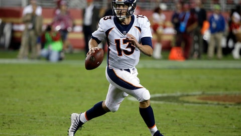 FILE - In this Aug. 19, 2017, file photo, Denver Broncos quarterback Trevor Siemian (13) runns against the San Francisco 49ers during the second half of a preseason NFL football game in Santa Clara, Calif. The Broncos begin their season on Sept. 10 against the Los Angeles Chargers. (AP Photo/Eric Risberg, File)