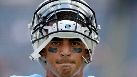 FILE - In this Aug. 19, 2017, file photo, ennessee Titans quarterback Marcus Mariota warms up before an NFL football preseason game against the Carolina Panthers, in Nashville, Tenn. As much as the Titans start their offense with the run, Mariota now has a lot more options when it comes to throwing downfield. (AP Photo/Mark Zaleski, File)