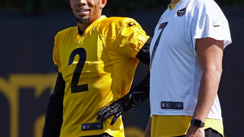 Pittsburgh Steelers quarterback Ben Roethlisberger, right, visits with newly acquired cornerback Joe Haden (2) during a team practice at the NFL football team's training facility in Pittsburgh, on Monday, Sept. 4, 2017. (AP Photo/Gene J. Puskar)