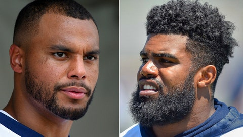 FILE - These are 2017 file photos showing Dallas Cowboys NFL football players Dak Prescott, left, and Ezekiel Elliott. Prescott and Elliott have quite a rookie duo act to follow, and it's hard to say whether Elliott will even get the chance because of a six-game suspension. (AP Photo/File))