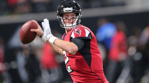 FILE - In this Aug. 26, 2017, file photo, Atlanta Falcons quarterback Matt Ryan (2) works against the Arizona Cardinals during the first half of an NFL football game, in Atlanta. Dan Quinn is building a defense that one day may carry the Falcons, but Atlanta's strength is still an offense led by quarterback Matt Ryan that led the NFL in scoring in 2016. (AP Photo/John Bazemore, File)