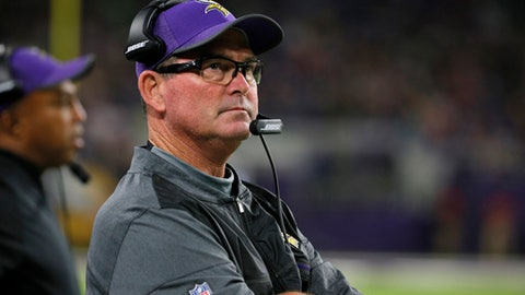 FILE - In this Aug. 31, 2017, file photo,Minnesota Vikings head coach Mike Zimmer watches from the sidelines during the second half of an NFL preseason football game against the Miami Dolphins, in Minneapolis. The Vikings have as much motivation for a turnaround as an NFL team could find. They're hosting the Super Bowl this season. But they've got a tall task ahead of them to achieve the goal of the star-crossed franchise's first championship. (AP Photo/Bruce Kluckhohn, File)