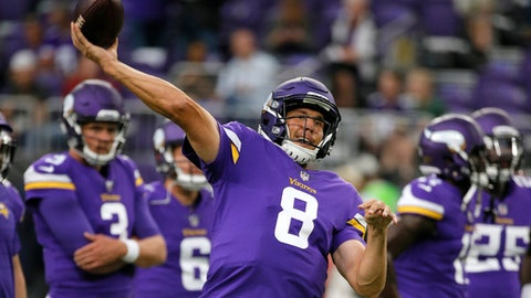 FILE - In this Aug. 27, 2017, file photo, Minnesota Vikings quarterback Sam Bradford warms up before an NFL preseason football game against the San Francisco 49ers, in Minneapolis. The Vikings have as much motivation for a turnaround as an NFL team could find. They're hosting the Super Bowl this season. But they've got a tall task ahead of them to achieve the goal of the star-crossed franchise's first championship. (AP Photo/Bruce Kluckhohn, File)