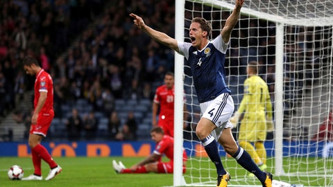 Scotland's Christophe Berra celebrates scoring his side's first goal during the World Cup Group F qualifying soccer match between Scotland and Malta at Hampden Park, Glasgow, Scotland, Monday, Sept. 4, 2017. (Owen Humphreys/PA via AP)